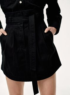 Denim Skirt Pairs with Black Cropped Off-Smoulder Blouse and High-Heeled Slide. Denim Skirt, Leather Skirt, Cotton Twill Fabric, Mini Skirts, Blouse, Pairs, Outfits, Black, Free