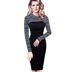 30a9edcdb5 Nice-forever Elegant Vintage Fitted winter dress full Sleeve Patchwork  Turn-down Collar Button Business Sheath Pencil Dress b238