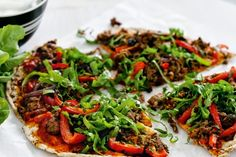 Spicy Lamb Flatbread Pizza