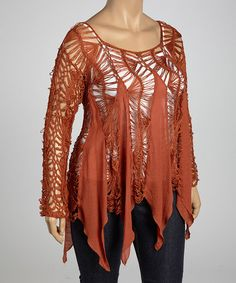 Save Now on this Burnt Orange Crocheted Handkerchief Top - Plus by UMGEE U.S.A. on #zulily today!