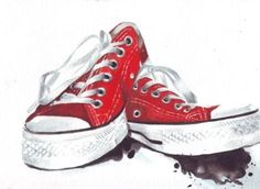 http://etsy.me/1oWz8i9 Red Converse All Stars #art #original #watercolor…