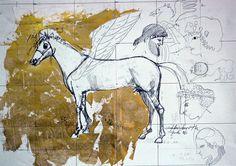 Ignacio Klindworth. Boceto caballo griego. Mixta sobre papel. 50x70cm. Madrid 2006.