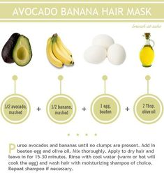 Recipe for Avocado Banana hair mask w/ egg: protein & moisture-rich!