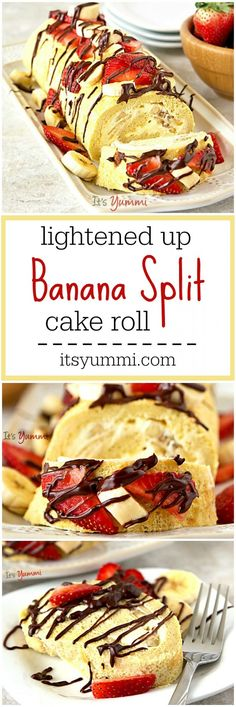 This Banana Split Cake Roll is one of the lightened up cake recipes that I've fallen in love with. Just 168 calories and 4 grams of fat per slice! \\ Get the recipe on itsyummi.com
