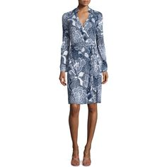 Diane von Furstenberg New Jeannie Two Flower Power Wrap Dress ($398) ❤ liked on Polyvore featuring dresses, flower power midn, cocktail dresses, long sleeve wrap dress, special occasion dresses, long sleeve dress and blue dress