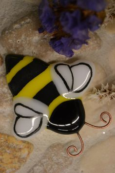 Bumble Bee Magnet, Fused Glass, Hand Painted by PurpleSlugGlassArt on Etsy