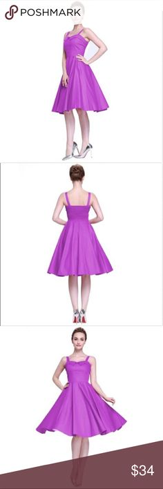 "NEW Dk Purple Vintage Glamour 40s 50s Swing Dress Fitted Fabulous dress. Straps, concealed back zipper, sweetheart neckline.  Knee length, unlined cotton blend. Size XS 0-2. Bust 31.75"", waist 24.5"", length 41.75"".  Model wearing petticoat not included. Color eggplant purple - see last pic. Dresses"