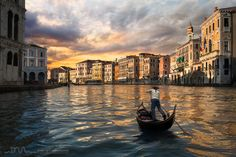 """Il gondoliere by Daniel Metz on 500px. Having prepared this photo for a long time, I had two great challenges.  Try to photograph the gondola alone on the Canal Grande.  Capture this legendary gondolier's gesture that gives a significant boost to his boat. This energetic gesture is called """"the Prèmer""""."""