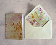 Rainbow Marbled Greeting Cards with Marble Lined Envelopes by TigerlilyDesignStore on Etsy