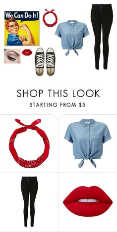 """Potential Halloween Costume: Rosie the Riveter"" by alyssamarie126 ❤ liked on Polyvore featuring New Look, Miss Selfridge, Glamorous, Mehron, Lime Crime and Converse"
