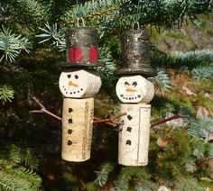 Pair of Wine Bottle Cork Christmas Tree Ornaments