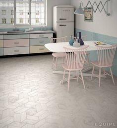 Hexawood Chevron Grey: Paredes y suelos de estilo Escandinavo de Equipe…