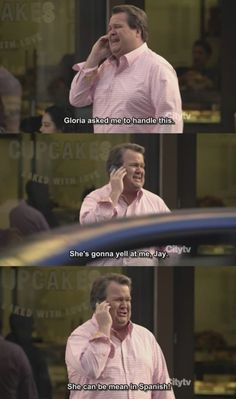 """Cam says to Jay: """"she is going to yell at me, Jay. Gloria can be mean in Spanish."""" From modern family show. Modern Family Memes, Modern Family Tv Show, Family Love, Modern Family Cameron, Modern Family Gloria, Tv Funny, Tv Shows Funny, Best Tv Shows, Hilarious"""