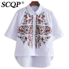Цветочной Вышивкой Дамы Топы И Блузки 2016 Лето Белый С Коротким Рукавом Рубашки…