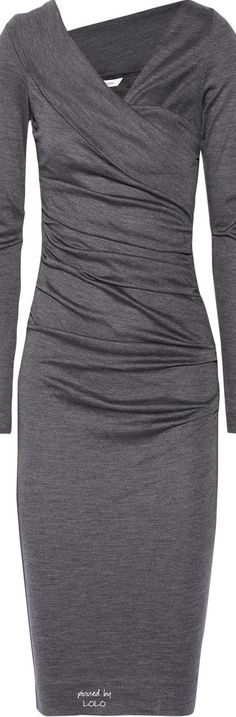 DIANE VON FURSTENBERG A flattering ruched wool grey dress. Can be dressed up or down.Wore this to wedding.