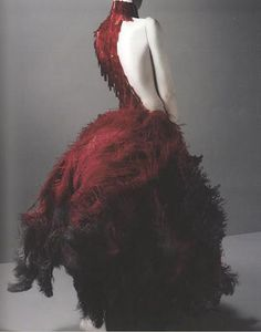Alexander McQueen: 'Savage Beauty'. This design is from McQueen's 'Romantic Gothic Collection' and was inspired by Tim Burton.