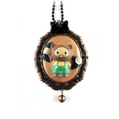 Collier camée Métal/fimo raton laveur so kawaii - Megagrawww Créations  #necklace #kawaii