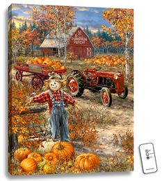 Shop Spilsbury's jigsaw puzzle store for kids and adults! This Fall scarecrow country farm puzzle by Dona Gelsinger measures 20 x On sale now! Fall Images, Fall Pictures, Pictures Of Pumpkins, Autumn Painting, Autumn Art, Pumpkin Painting, Pumpkin Art, Pumpkin Patch Farm, Pumkin Decoration