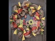 Create a burlap fall wreath using a dollar store wreath as a base. Using burlap and other ribbon add a fall item to the center to create a great fall look. Burlap Wreath Tutorial, Diy Wreath, Fall Wreaths, Christmas Wreaths, Mesh Ribbon Wreaths, Door Wreaths, Halloween Ribbon, Burlap Crafts, How To Make Wreaths