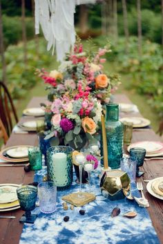 jewel tone table setting
