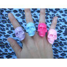 Skull Ring, Pastel, Purple, Pink, Blue, Large, Pastel Goth, Grunge, Kawaii Ring ($3) found on Polyvore