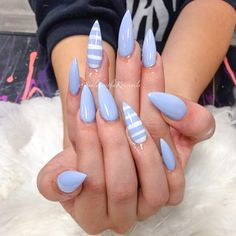 Lavender/Lilac stiletto nails with white stripe accent