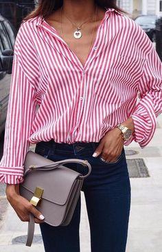 Friday feeling / stripes + high waist denim