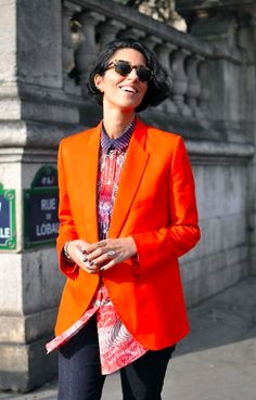 Street Style Photography, Luxury Fashion, Orange Blazer, PFW, Paris Fashion Week, Yasmin Sewell