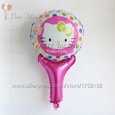 Party supplies 10pcs kids Hello Kitty party decoration toy aluminium foil 28*50cm hand stick balloon balloons