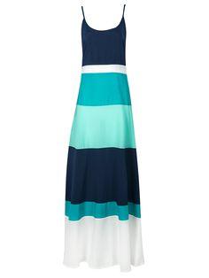 Teal Blue Contrast Color Spaghetti Strap Maxi Dress | Choies