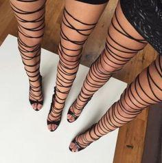Lace-Up Thigh High Sandals High Heels Black, High Heels Boots, Lace Up Heels, Sexy Heels, Heeled Boots, Shoe Boots, Lace Shoes, Heeled Sandals, Comment Porter Des Vans