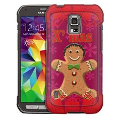 Samsung Galaxy S5 Active Xmas Gingerbread Man on Red Trans Case