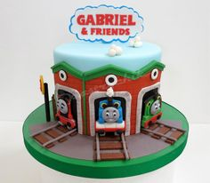 Thomas the Tank Engine cake with Thomas, Percy & James