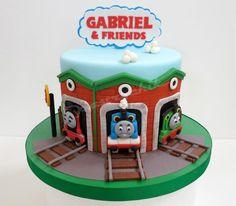 Thomas the Tank Engine cake with Thomas, Percy & James