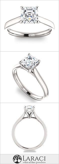 14K White Gold Solitaire Engagement Ring set with a 1.3ct (6.5mm) Asscher Forever One Near Colorless Moissanite