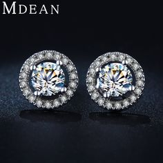 MDEAN Stud Earrings for Women White Gold Color CZ Diamond Jewelry AAA Zircon Round Boucle D'oreille Wedding Brincos MSE032 //Price: $7.95 & FREE Shipping //