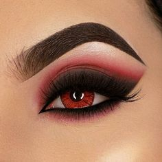 red and black eyeshadow IG created this red using our: Enchanted Eyeshadow Palette Define Pose Brow Pomade in dark Tint Tame Brow Gel in dark Chroma Glow Shimmer Highlight Palette Red Eyeshadow Look, Red Eye Makeup, Edgy Makeup, Halloween Eye Makeup, Makeup Eye Looks, Halloween Eyes, Colorful Eye Makeup, Dark Makeup, Smokey Eye Makeup