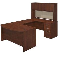 Bush BBF Series C Elite Bow Front U Desk Office Set ($1,260) ❤ liked on Polyvore featuring home, furniture, desks, cherry, cord management desk, file desk, cable management desk, cherry wood furniture and bow front desk