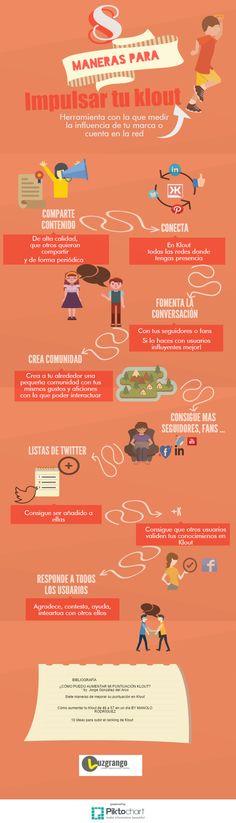 Hola: Una infografía con 8 maneras de potenciar tu Klout. Vía Un saludo