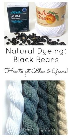Natural coloring with black beans! Why do not you dye your own beautiful yarn for knitting and crocheting? Learn how to dye yarn, fibers, and fabrics naturally with this series of dyeing tutorials. Other dyeing tutorials. Tie Dye Tutorial, Natural Dye Fabric, Natural Dyeing, Diy Ombre, Yarn Crafts, Fabric Crafts, Fibre And Fabric, Spinning Yarn, Textiles