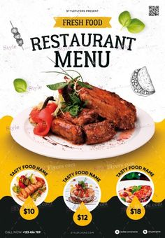 Restaurant Menu PSD Flyer Template and more than Premium PSD flyer templates for event, loud party or successfull business. Food Graphic Design, Food Menu Design, Food Poster Design, Restaurant Poster, Restaurant Menu Design, Restaurant Recipes, Restaurant Restaurant, Sport Flyer, Streetfood Festival