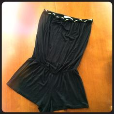 Strapless Romper w/ Shorts Size large romper with shorts. I love the gold detailing on this! Picture one and two are accurate color--not washed out like it looks in pics 3 & 4. Material is nice and soft. Made in the US Other