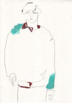 Illustration by Helen Bullock - Prada @ Milan Menswear A/W 2013 - SHOWstudio - The Home of Fashion Film Best Sketchbook, Fashion Sketchbook, Fashion Sketches, Man Illustration, Fashion Portfolio, Fashion Face, Illustrators, Drawings, Milan