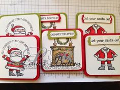 Christmas is coming... Eek! 3x3 cards made by the lovely Laura Britten Get your Santa on, Stampin' Up!