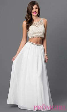 Two-Piece Lace Top Sequin Hearts Prom Dress