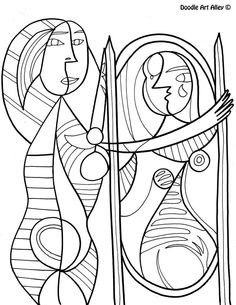 famous art work coloring pages free and printable at classroom doodles enjoy