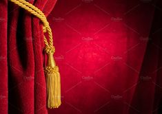 Red theatre curtain and yellow tassels Invitation Design, Invite, Go Red, Red Curtains, Logo Design Inspiration, Theatre, Tassels, Yellow, Logos