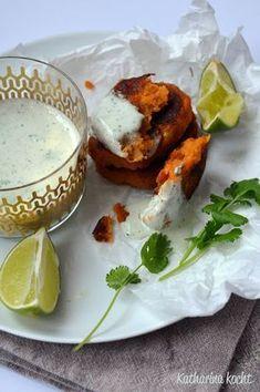 """Süßkartoffeln Joghurtdip Kreuzkümmel Koriander Chili Limette zuckerfrei """"Projekt Zuckerfrei 2013"""""""