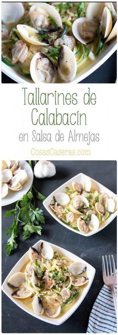 Estos tallarines de calabacín con salsa de almejas son fáciles y rápidos de hacer. No sólo son muy saludables, sino también son deliciosos.