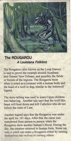 The Rougarou - (Roo ga roo) aka. Loup Garou, Louisiana folklore I know this thanks to Supernatural Legends And Myths, Urban Legends, Dark Legends, Mythological Creatures, Gods And Goddesses, Norse Mythology Goddesses, Roman Mythology, Greek Mythology, Magical Creatures